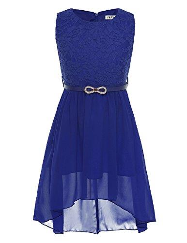 iEFiEL Mädchen Kleid Festlich Tüll Sommer Kleid Blumenmädchen Hochzeit Festzug Bekleidung mit Schleife 116-164 (152, Royal Blau)