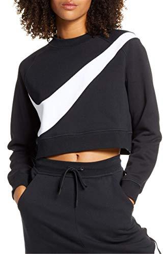 Nike Damen Sportswear Swoosh Fleece Crew Schwarz L
