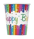Unique Party- Vasos de Papel Fiesta de Cumpleaños de Franja, 8 Unidades, Multicolor, 266 cm (49566)
