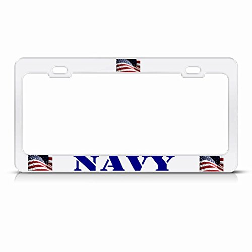Amerika-Flagge, Weißes Nummernschild-Rahmen, Patriotische USA, Metall-Bordüre, perfekt für Männer und Frauen, Auto-Garadge Dekor