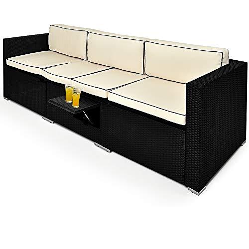 Deuba Poly Rattan Couch Gartenliege Verstellbare Lehne Auflagen Klaptisch 3 Sitzer Schwarz Sofa Garten Möbel