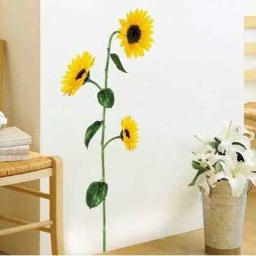 Sticker Mural Fleurs Tournesols - Autocollant mural Fleur pour maison - Adhésif mural pour maison - Décoration mural chambre, bureau et salon - 1 Plance de 30 x 50 cm
