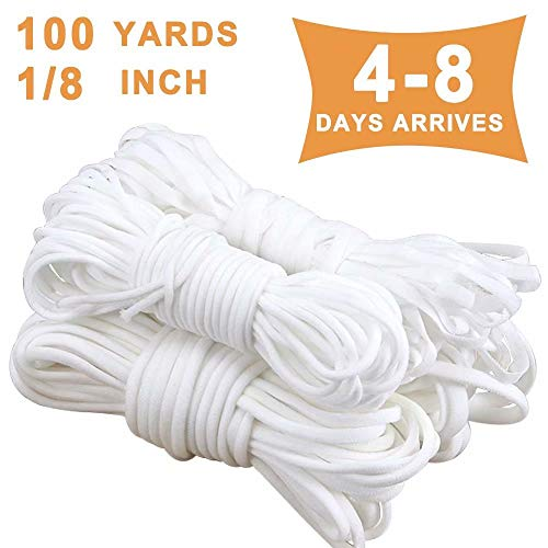 Elastic Bands Cord for Sewing Clips,100 Yards 1//8 Inch 3MM Braided Stretc Elastic with Scissor