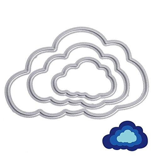 3 piezas Nubes Troqueles de Metal Cutting Dies U-horizon Dies Corte Plantillas Estarcir para Tarjeta, Papel, Álbum Scrapbook, DIY (Clouds)