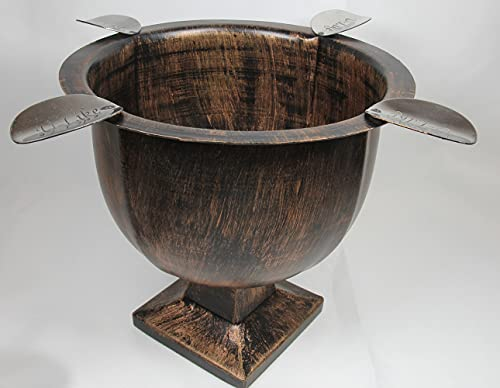 Cigar Ashtray Made In Iron Metal Tall Deep Bowl Box Pressed Wind Resistant Ashtray With 4 Stirrup (Brushed Copper)