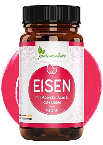 Eisen Kapseln hochdosiert + Pflanzliche Blutnährstoffe I 120 Eisen Kapseln I hoch bioverfügbar mit Acai, Rote Beete, Vitamin C aus Acerola, Folsäure, Vitamin B2 & B12 I Made in Germany I Vegan