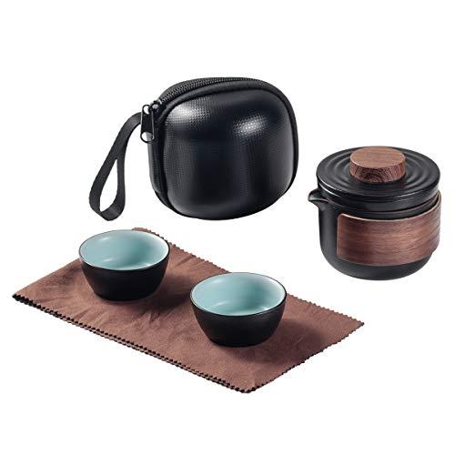Mini Travel Ceramic Tea Pot Set Chinese Kung Fu Teapot, 1 Pot 2 Cups Porcelain Teacups with Tea Infuser Portable Bag for Outdoor Picnic (Black)