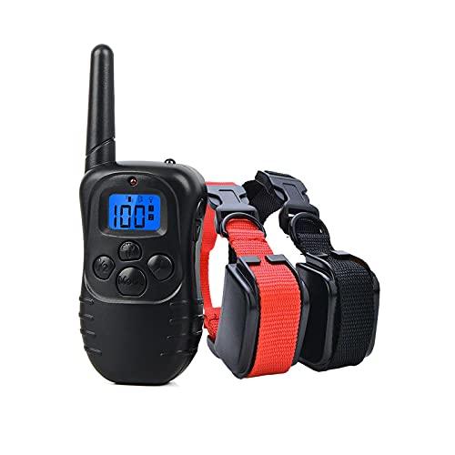 Collar de Adiestramiento para Perros, Resistente al Agua con vibración y Sonido, Rango Remoto de 300 Metros - 2 Collars