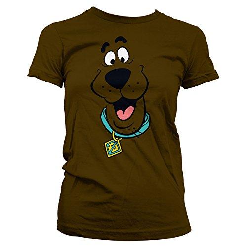 Scooby Doo Offiziell Lizenzprodukt Face Damen T-Shirt (Braun), Small