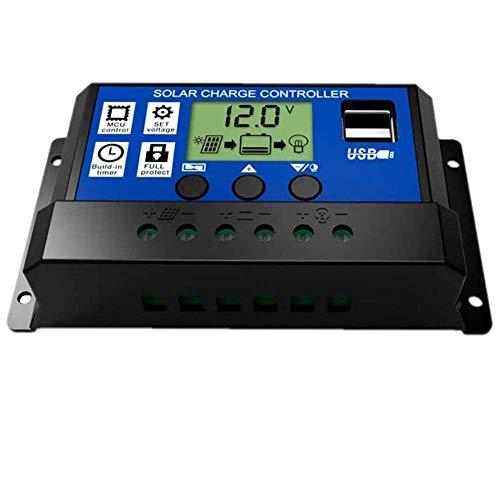 Fuhuihe 30A LCD Dual USB contrôleur de charge solaire 12V / 24V Auto Switch avec contrôle de la minuterie de lumière (30A)