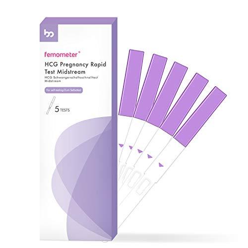 Femometer Schwangerschaftstests 5er-Packung, HCG Schwangerschaftsfrüherkennung, Schwangerschaftstestsatz 25 mIU/ml mit schnellen, präzisen Ergebnissen