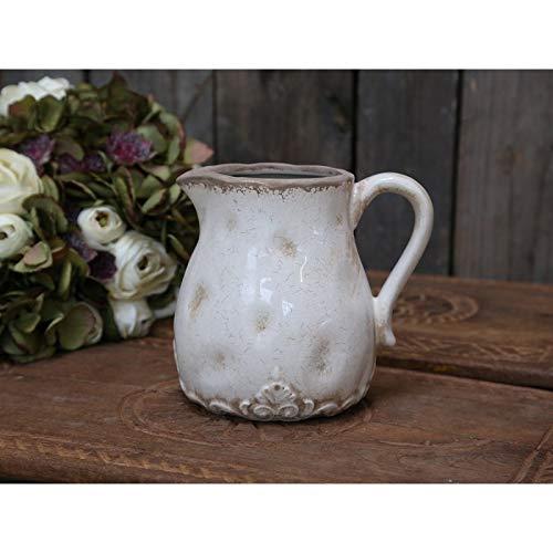 Chic Antique Brocca Brocca Marcy Antikcreme Porcellana con Francese Decorazione Altezza 15,5 CM