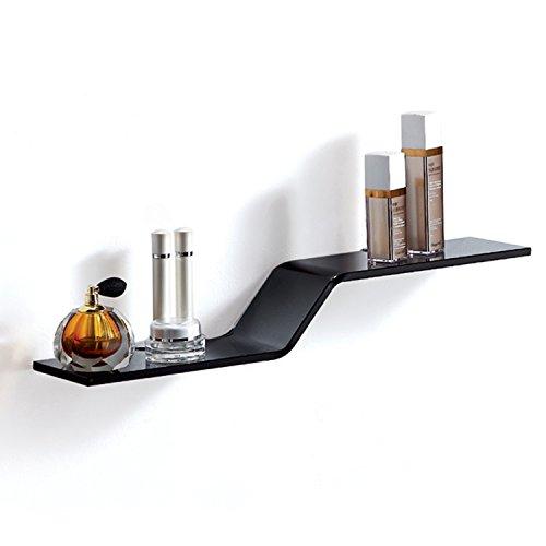 Fab Glass and Mirror LAVA WAVE Glass Wall Shelf, 23.5' X 4.75, Black