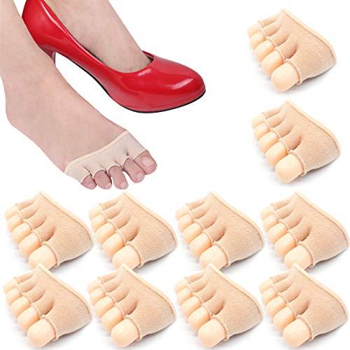 REKYO 10 Paar Baumwollsocken Toe Topper für Frauen Peep Toe Socken Vorfuß Socken Deckel eine halbe Handfläche Zehensocken für Pumpen & Erbsen Schuhe