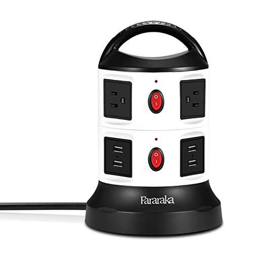 Power Strip Tower Surge Protector,Fire-proof all Side Universal Charger with 6 Outlets and 4-Port USB,9.8 ft Cord Wire Overload Protection and Safety Door Outlet for PC and Electronic Device 750 Joule