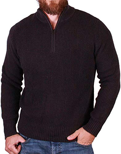 Calvin Klein Quarter Zip Long Sleeve Knit Sweater for Men (XX-Large, Black Melange)