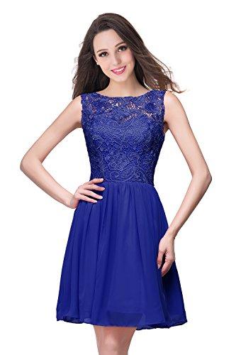 MisShow Damen Chiffon Ballkleider Hochzeitskleider Kurz Brautjungfernkleid Spitze Kleider Royalblau 42