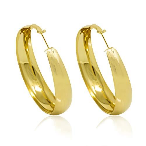 InSCINTILLE - Pendientes de aro con banda ancha chapados en oro o plata dorado