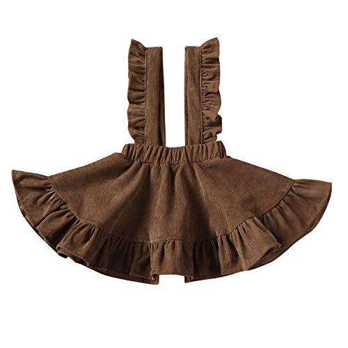 Specialcal Baby Girls Velvet Suspender Skirt Infant Toddler Ruffled Casual Strap Sundress Summer Outfit Clothes (2-3T, Light Coffee(Velvet))