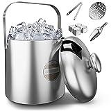 SilverRack Edelstahl Eiswürfelbehälter mit Deckel, Zange u. Schaufel [1,3l] - Eisbehälter für Eiswürfel perfekt für kalte Getränke - Eiseimer als Eiswürfelbehälter Ice Bucket