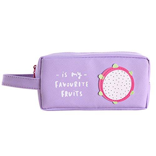 STOBOK Estuche de Lona para lápices de Frutas para el Verano, para la Escuela, para Maquillaje, papelería, Accesorios, para Estudiantes (Fruta de dragón)