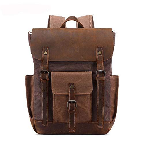 RJJ Vintage Men's Backpack Oil Wax Canvas Bag/Crazy Horse Leather Backpack/Travel Backpack (Color : Brown)