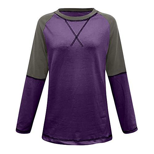 Morton PegfwaS T-Shirt da Donna Europea E Americana A Maniche Lunghe Raglan Abbinate A Maniche Lunghe Color Autunno Primavera