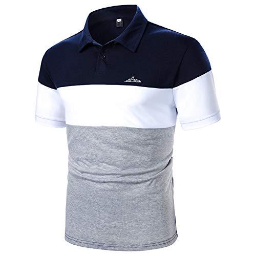 Polo Uomo Primavera Estate Camicia Patchwork per Il Tempo Libero con Maniche Corte con Risvolto ( XL,3grigio )