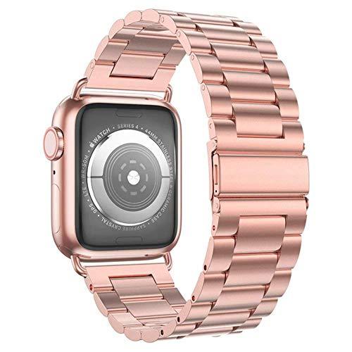 TIANQ Estuche + Correa para Apple Watch Band 44 Mm 40Mm Iwatch 42Mm / 38Mm Bracele De Metal De Acero Inoxidable para Apple Watch 5 4 3 38/40/42 / 44Mm, China, Oro Rosa
