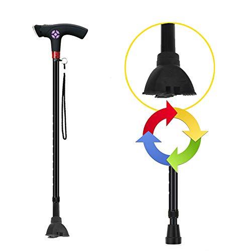 Tragbarer Spazierstock für alte Männer, mit drehbaren LED-Lichtern, wiederaufladbarer, verstellbarer Gehhilfe, mit Radio- / Alarmfunktion, leichter, rutschfester Gehhilfe für ältere Menschen