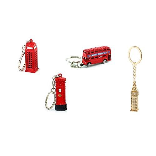 Berühmte London Wahrzeichen Roter Bus Telefonzelle Briefkasten & Big Ben Schlüsselanhänger 4er Mix