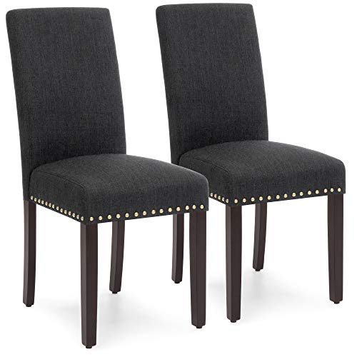 Best Choice Products Set of 2 Upholstered High Back Padded Accent Dining Chairs w/Wood Legs, Studs - Charcoal
