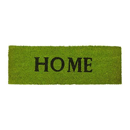 Relaxdays Fußmatte schmal HOME aus Kokos Gummi PVC rutschfest als Fußabtreter als Schmutzfangmatte für Balkon, Terrasse, Flur HBT: ca. 1,5 x 75 x 25 cm, grün