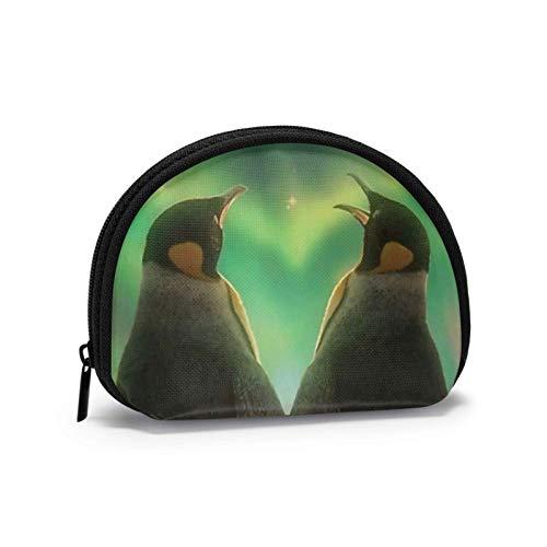Monedero, diseño de pingüino, corazón de amor, Antártico, Aurora Polaris Light, pequeño monedero de lona, portátil, concha, bolsa de almacenamiento para mujeres y niñas