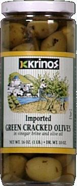 Krinos Olive Cracked Green, 16 oz