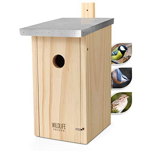 WILDLIFE FRIEND | Nistkasten mit Metalldach aus Massivholz für Kohlmeisen & Co. - wetterfest, unbehandelt, Vogelhaus für Meisen - Nisthilfe mit 32 mm Einflugloch