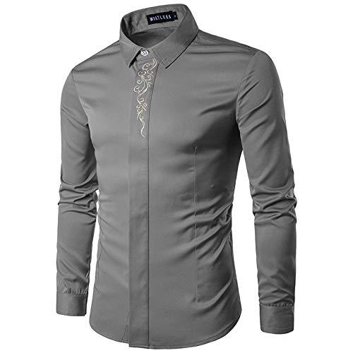 Camisa de Manga Larga Ajustada para Hombre Escote Bordado Solapa Tendencia de Moda Ropa de Calle cómoda Camisa básica XL