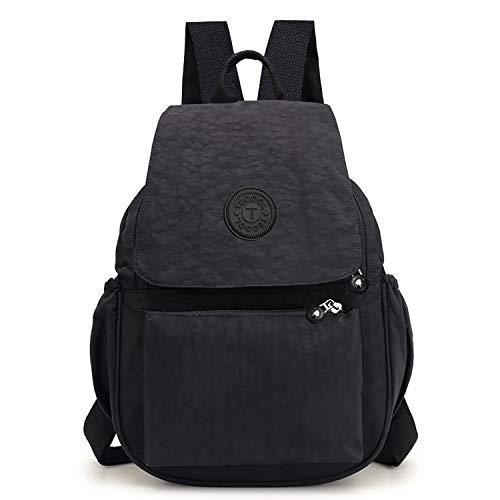 TECOOL - Casual Mochila Bolso para Mujeres, Moda Pequeño Ligero Nylon Impermeable Multi-bolsillos para Deportes y Aire Libre Ocio, color Negro