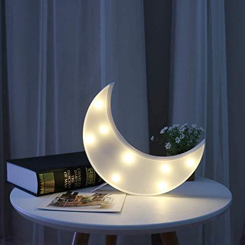 Star Marquee - Luces decorativas LED de amor, funciona con pilas, mini luz nocturna de plástico para niños, para dormitorio, mesa y decoración de pared (luna-blanco)