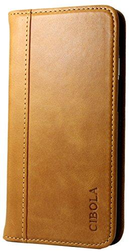 ASUS ZenFone Hülle, CIBOLA Echtleder, Brieftaschen-Design, mit Standfunktion, Kreditkartenfächern & Magnetverschluss, ZenFone4 Selfie Pro ZD552KL, braun