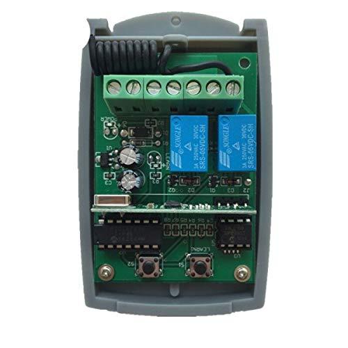Receptor Universal mandos Garaje 433,92Mhz 2 Canales, codigos fijos y Rolling Code, Compatible con el 90% de mandos de Garaje del Mercado