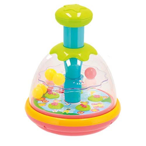 Bieco Kreisel für Kinder | Baby Kreisel ab 6 Monate | Bunter Kreisel für Babys | Kinderkreisel Spielzeug mit Sieben Kugeln | Brummkreisel Baby zum Drücken | Spinning Top | Magischer Kreisel Baby