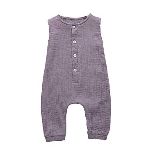 Zylione MäDchen Overall Kinder Baby äRmellose Einfarbige Taste Plissee Weste Overall(Lila,90)