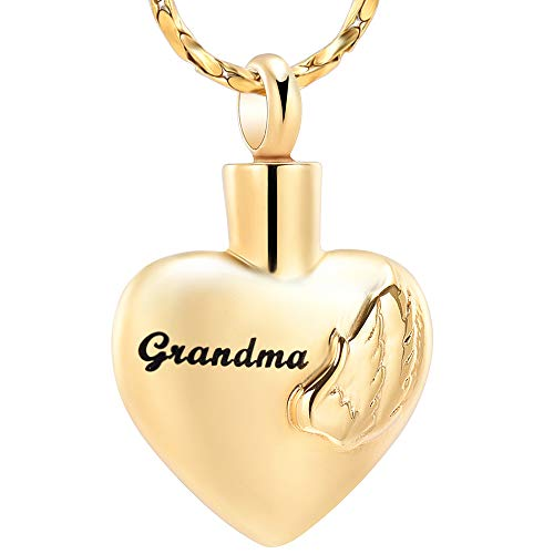 Imrsanl Cremation Jewelry for Ashes for Family Urn Necklace Pendants Ashes Keepsake Memorial Ash Jewelry for Loved Ones (Grandma)