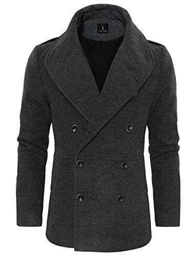 TAM WARE Mens Wool Blend Double Breasted Pea Coat TWCC10-C16-CHARCOAL-US S