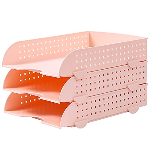 Revistero Bandeja de archivo de archivo de escritorio Bandeja de archivos de tres capas Bandeja de letras de plástico para escritorio Organización Tipo de cajón Clasificador de archivos apilable Caja
