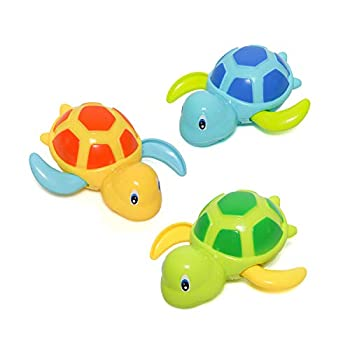 Baby Bath Toy Swimming Turtle Floating Wind-up Bathtub Pool Toys Cute Water Play Sets for Kids Boys Girls 3 Pcs