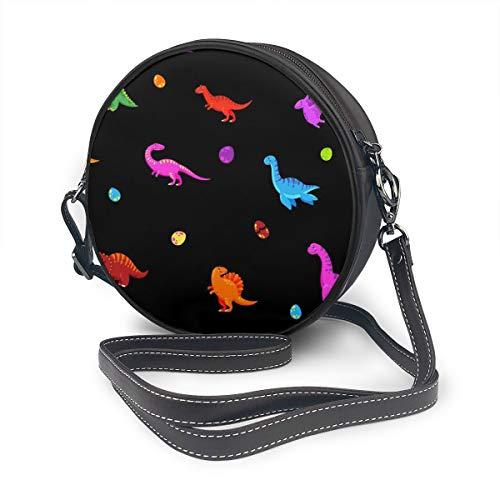 Rterss Runde Schultertasche aus echtem Leder, Vintage-Stil, verstellbarer Schultergurt, für Damen, Dinosaurier-Zeichentrick-Hintergrund