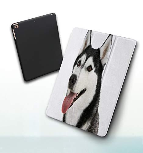 Funda para iPad 9,7 Pulgadas, 2018/2017 Modelo, 6ª / 5ª generación,Adorable Lindo Curioso Laika Husky de Alaska Animal Perro Perrito Canino Animales FA Smart Leather Stand Cover with Auto Wake/Sleep