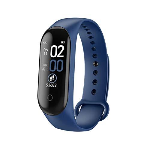 YONGLI Deportes Fitness Bluetooth Pulsera Inteligente Reloj De Presión Arterial Monitor De Ritmo Cardíaco Podómetro Pulsera De Salud para iOS & Android (Color : Blue)